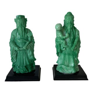 Vintage Asian Faux Jade Figurines - a Pair For Sale
