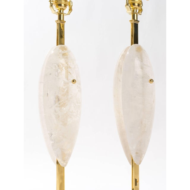 Pair of Rock Crystal Quartz Lamps, Eon Collection For Sale - Image 4 of 5