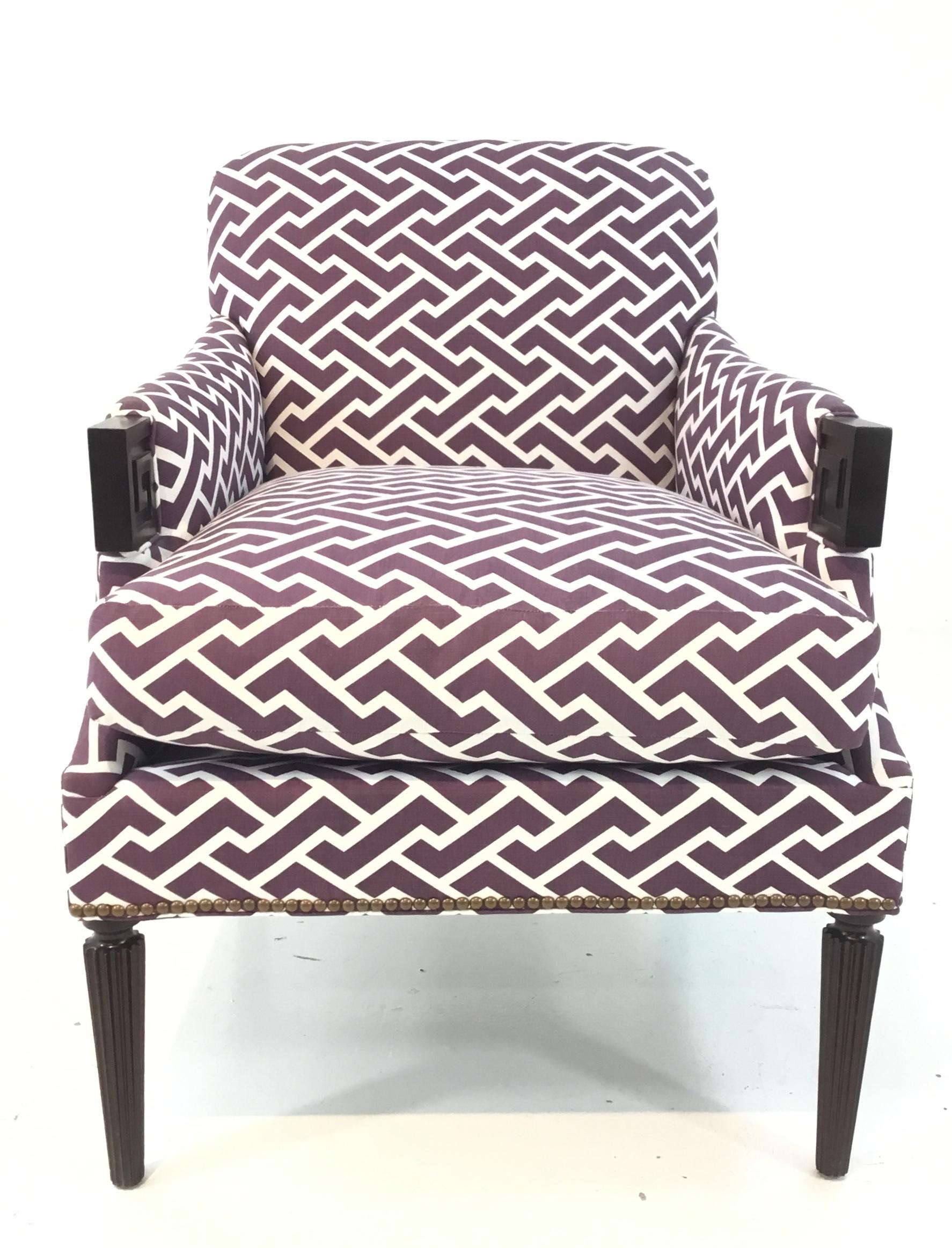 Delicieux Brass Modern Hickory Chair Purple And White Gregory Lounge Chair For Sale    Image 7 Of