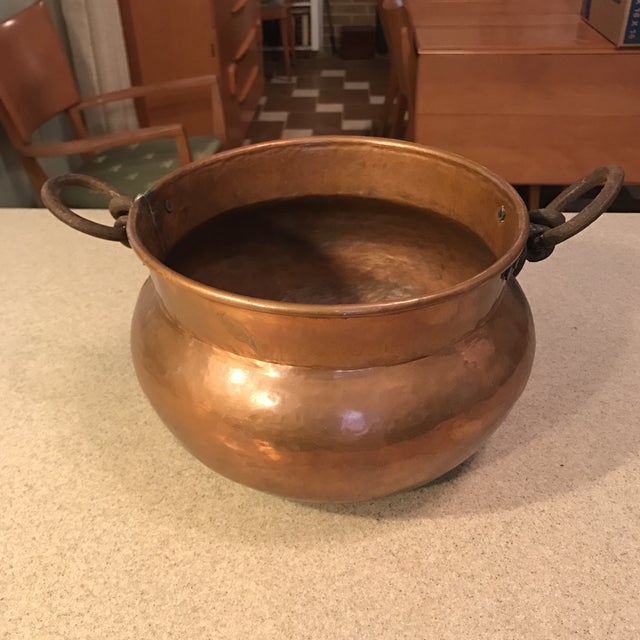 Copper Antique Copper Cauldron Planter For Sale - Image 8 of 11