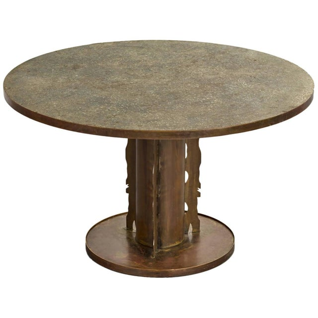 Metal Phillip and Kelvin Laverne Etruscan Dining Table, 1965 For Sale - Image 7 of 8