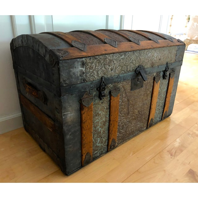 Authentic Irish carriage trunk chest. Provenance: Used by family to emigrate from Ireland in late 1800s. Original...