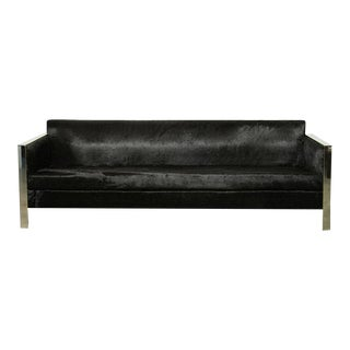 1970s Modern Milo Baughman Style Hair on Hide and Steel Sofa For Sale