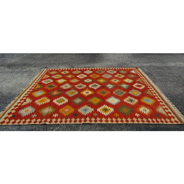"Gorgeous Wool Kilim Rug, Made in India , hand died and hand made. The Carpet is Large at 7' 6"" x 9'6"". The Rug has a..."