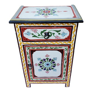 Moroccan Hand Painted White Wooden Nightstand For Sale