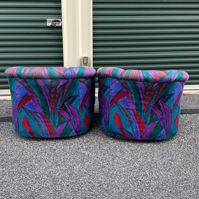 1980s Modern Swivel Chairs by American of Martinsville - a Pair For Sale In Philadelphia - Image 6 of 13