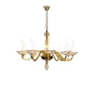 Elegant Murano Blown Amber Glass 10-Light Chandelier For Sale