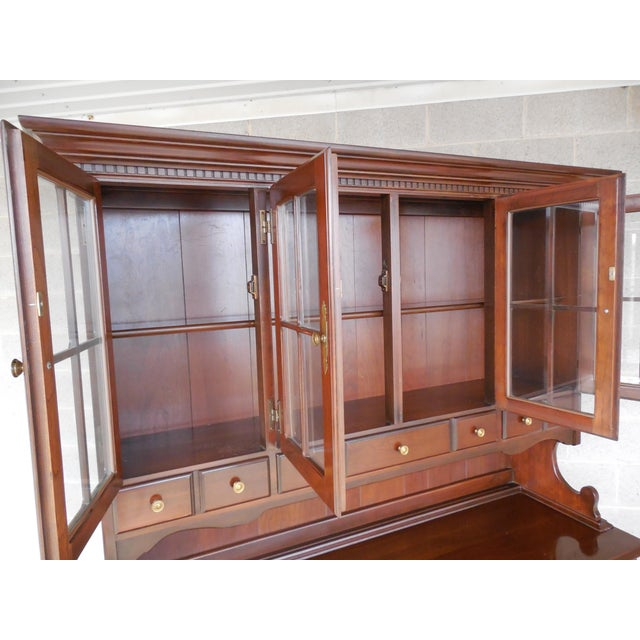 Frederick Duckloe & Bros Solid Cherry Chippendale Style China Pewter 2pc Cabinet For Sale - Image 11 of 13
