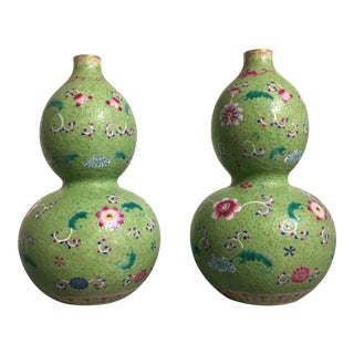 Pair of Chinese Lime Green Famille Rose Sgraffito Double Gourd Porcelain Vases