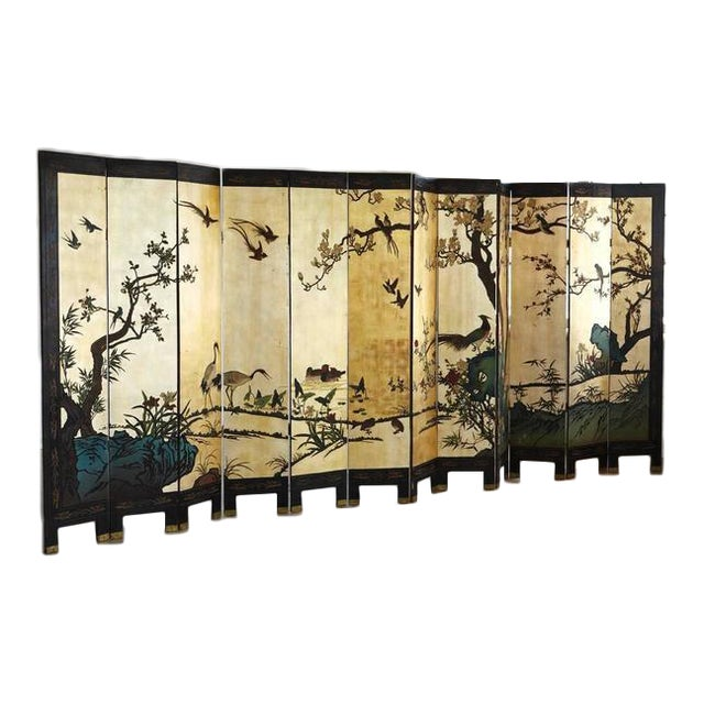 Chinese 12-Panel Double Sided Gold Black Lacquered Coromandel Screen For Sale