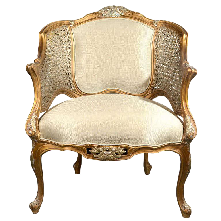 Hollywood Regency Louis XV Style Gilt Bergere Chair   Image 1 Of 8