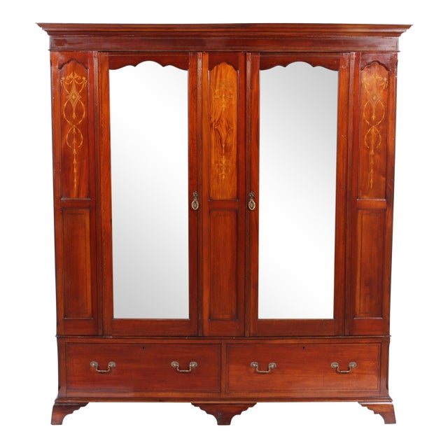 art nouveau inlaid mahogany armoire chairish. Black Bedroom Furniture Sets. Home Design Ideas