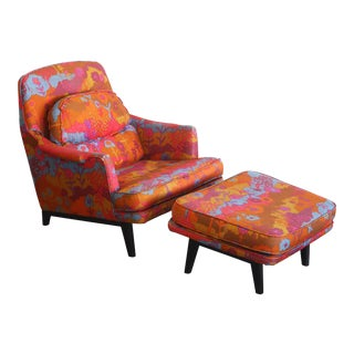 Vintage Mid-Century Chair and Ottoman by Roger Sprunger for Dunbar