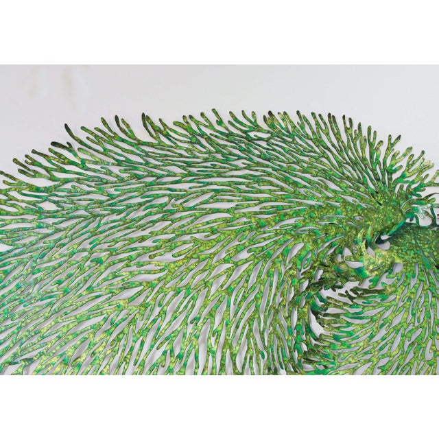 Abstract Green and Gold Iron Coral Wall Sculpture by Fabio Ltd. For Sale - Image 3 of 6