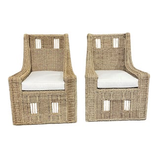 Ralph Lauren Woven Chairs With White Cushions - a Pair For Sale