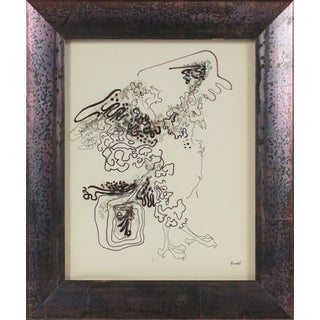 Surreal Abstracted Bird 1960-80s Ink Drawing For Sale