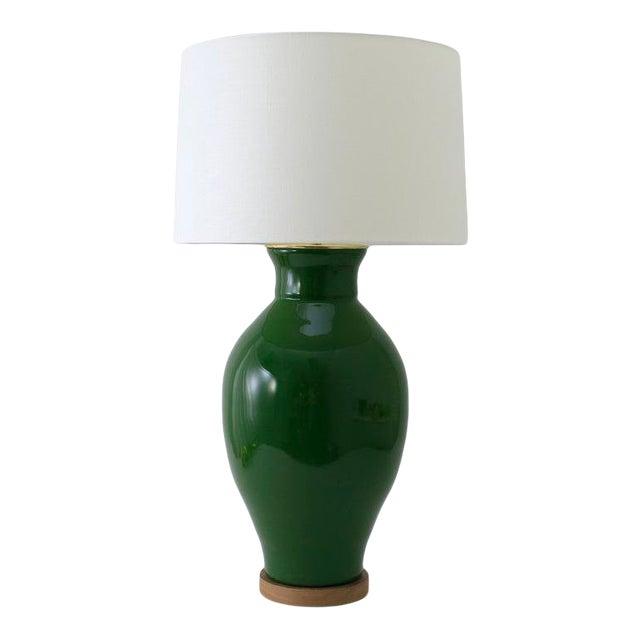 "Paul Schneider Ceramic ""Matagorda"" Lamp in Glossy Army Green Glaze For Sale"