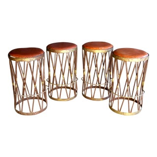 Hand Welded Iron & Leather Stools, Set of 4 For Sale