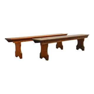 19th Century English Pine School Benches - A Pair