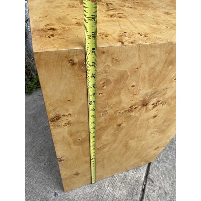 Wood Organic Burl Wood Tall Side End Table Cube Pedestal For Sale - Image 7 of 8