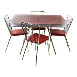 1950's Red Formica Dining Table and Chairs - Set of 5 For Sale