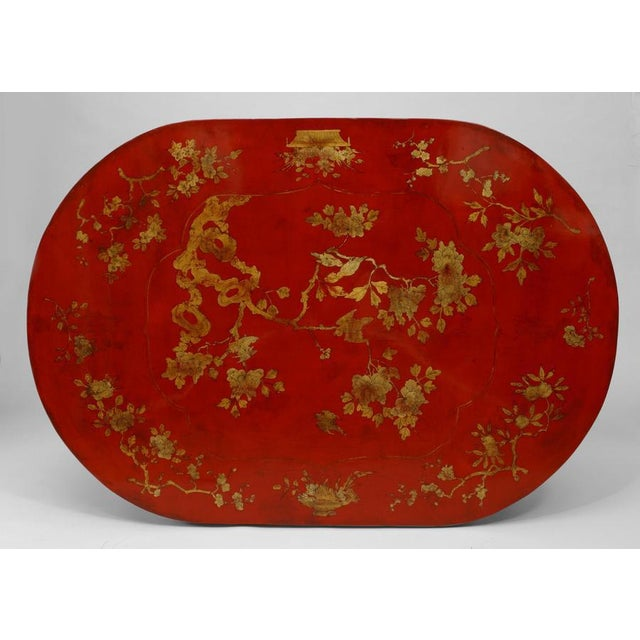 Ceramic Asian Chinese Oval Red Lacquer and Gilt Stencilled Center Table For Sale - Image 7 of 8