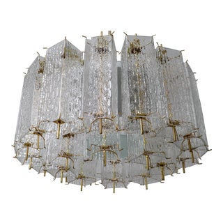 1960s Mid Century Chandelier With Ice Glass Tubes in Brass Fixture, Europe For Sale