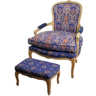 W&J Sloan's Fauteuil & Ottoman For Sale