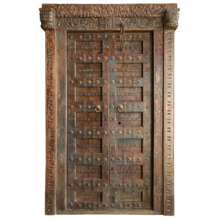 1800s Vintage Solid Teak Wood Meticulously Handcrafted Temple Entry Doors For Sale