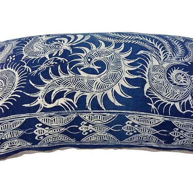 Serpent Indigo Batik Fringe Pillow - Image 4 of 5
