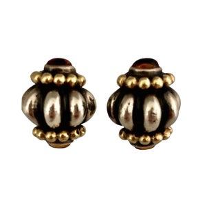 Vintage Sterling 18k Gold & Citrine Clip Earrings For Sale