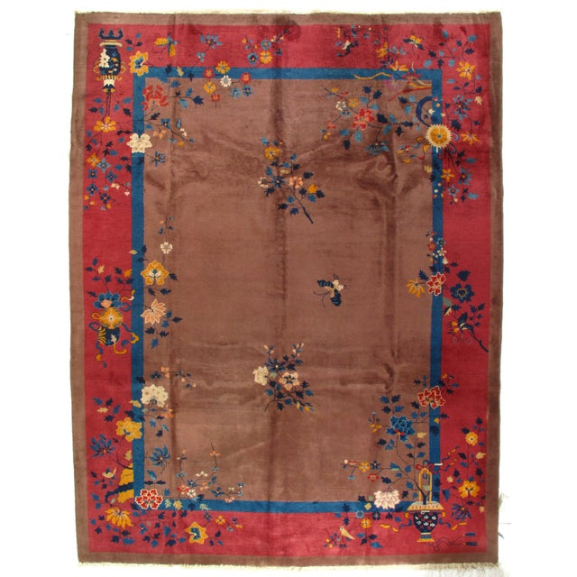 Early 20th Century Antique Chinese Art Deco Area Rug - 9′ × 11′7″ For Sale - Image 4 of 4
