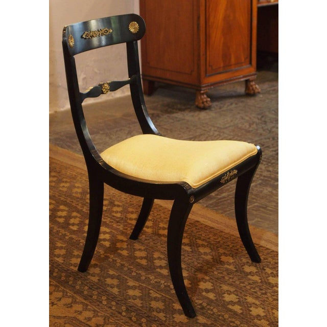 Set of Eight Ebonized Dining Chairs, Regency Style, circa 1920 For Sale - Image 9 of 10