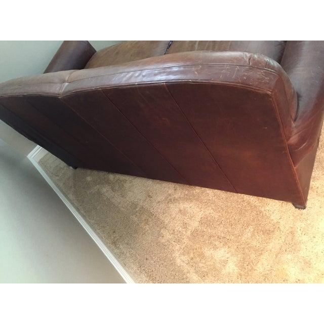 Crate & Barrel Leather Club Sleeper Sofa - Image 8 of 10