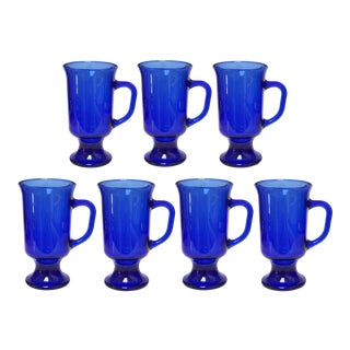 1950s Anchor Hocking Cobalt Blue Footed Coffee Tea Mugs-Set of 7 For Sale