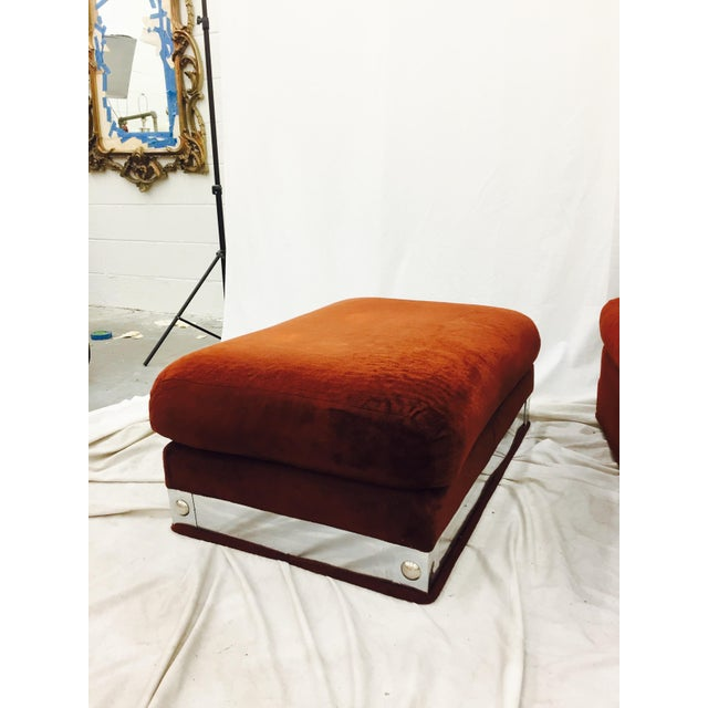 Vintage Mid-Century Modern Chair & Ottoman For Sale - Image 9 of 11