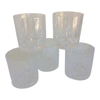 Vintage Waterford Style Diamond Cut Crystal Lowball Glasses - Set of 5 For Sale