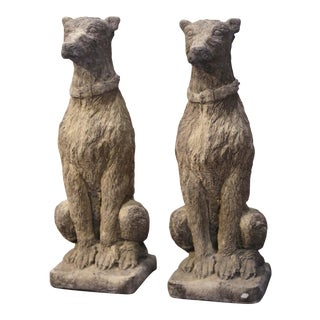 Pair of Vintage French Weathered Carved Stone Statuary Scottish Deer Hounds For Sale