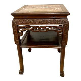 19th Century Chinese Marble & Hongmu Wood Square Table For Sale