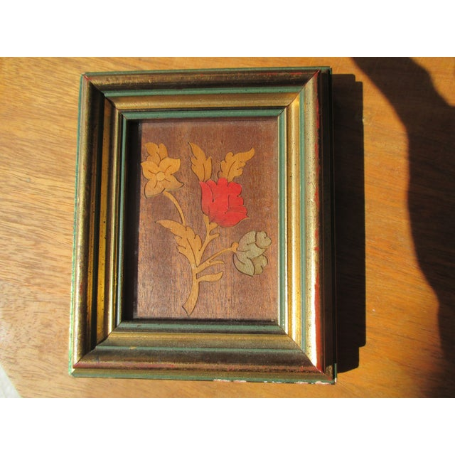 Petite Vintage Hand Painted Floral Motif With certificate of authenticity in French Framed with a hook In red, green and...