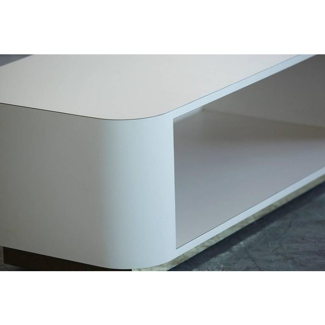 Brass Custom-Made White Laminate Media Center on Casters, circa 1980s For Sale - Image 7 of 10