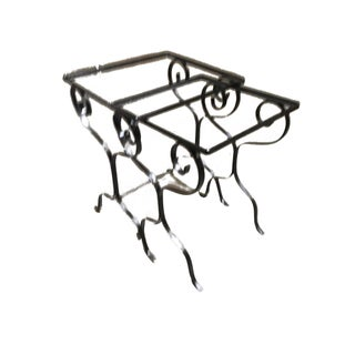 Iron Scrolling Outdoor/Patio Nesting Side Tables - Set of 2 For Sale