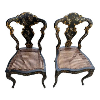 English Victorian Papier Mache' Side Chairs - a Pair For Sale