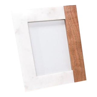 Anaya Wood + White Marble Picture Frame For Sale