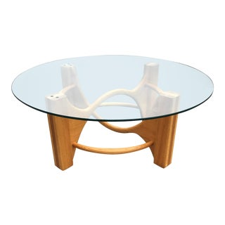 Modern Sculptural Bentwood White Oak & Round Glass Coffee Table For Sale