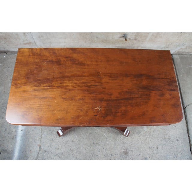 Wood Antique American Empire Flame Mahogany Swivel Game Console Table For Sale - Image 7 of 13
