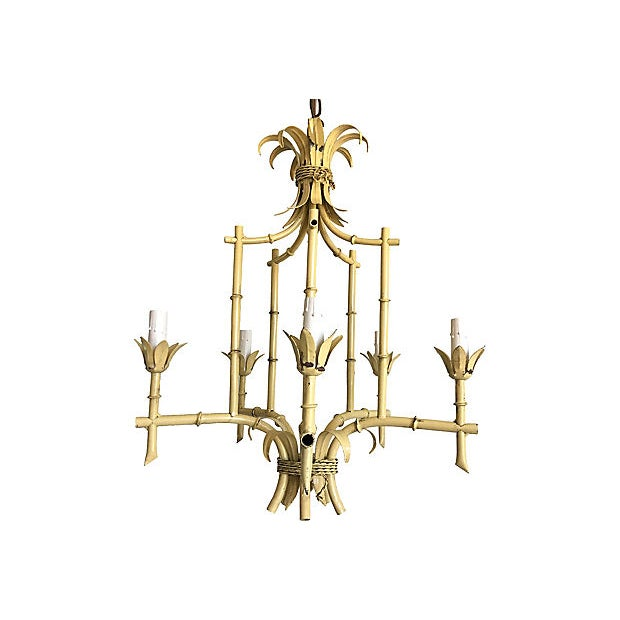 Chippendale 1950s Italian Bamboo Pagoda Chandelier For Sale - Image 3 of 12
