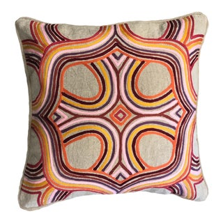1970s Retro Embroidered Linen Pillow For Sale