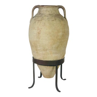 Large and Tall Amphora in Later Steel Stand For Sale