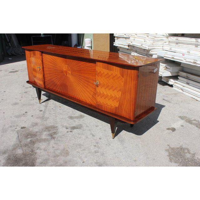 French Art Deco Exotic Rosewood Sunburst Sideboard / Buffet Circa 1940s - Image 4 of 10